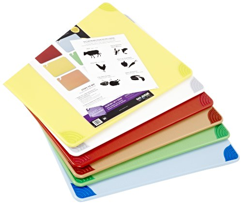 """San Jamar CBG1824KC 6 Piece Saf-T-Grip Co-Polymer Board System Set with Color Coding Chart, 24"""" Length x 18"""" Width x 1/2"""" Thick"""