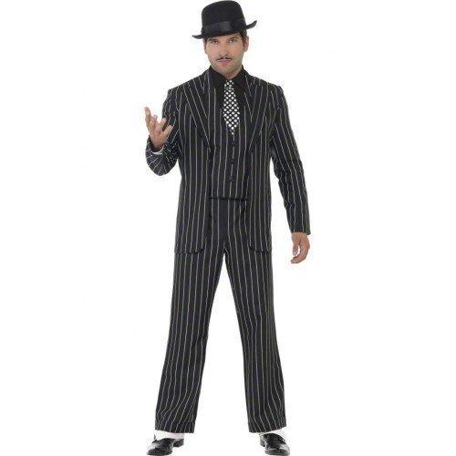 Herren-Kostüm '20er Jahre Gangster' Bugsy Malone / Der große Gatsby Vintage-Stil - 4-Teiliges Faschingskostüm für Erwachsene - Größen: EU 50-54 - Schwarz, M / EU 50 / 96-101cm