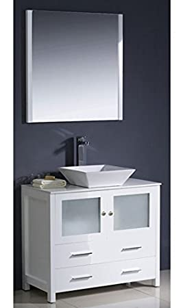"""California USA Modern White 36"""" Tempered Glass Ceramic Sink Solid Wood Cabinet Vanity Set - AGIV36WH"""