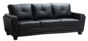Homelegance 9701BLK-3 Dwyer Sofa, Black Vinyl Fabric