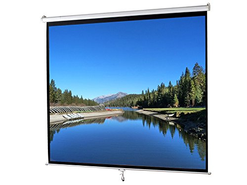 119″ Manual Pull Down Projector Screen 84×84 Projection Home Movie Theater White