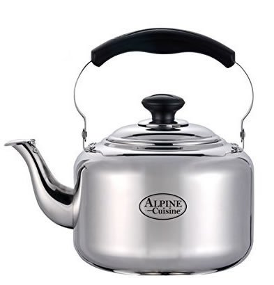 Large 3 Liter Alpine Cuisine Polished Mirror-Finish Stainless Steel Whistling Capsule Base Stovetop Teakettle Tea Kettle Teapot, Gas Electric Induction Compatible (Tea Pot Induction compare prices)