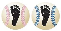 Personalized Baby Baseball Keepsake (Pink Stitching)