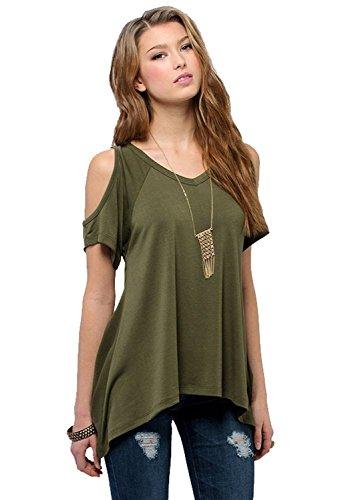 Womens-Vogue-Shoulder-Off-Wide-Hem-Design-Top-Shirt