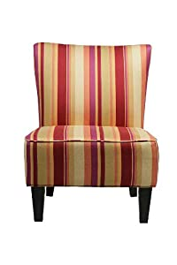 Handy Living 340C-PMG92-035 Halsted Armless Transitional Accent Chair, Burgundy And Mardi Gras Gold Striped Design