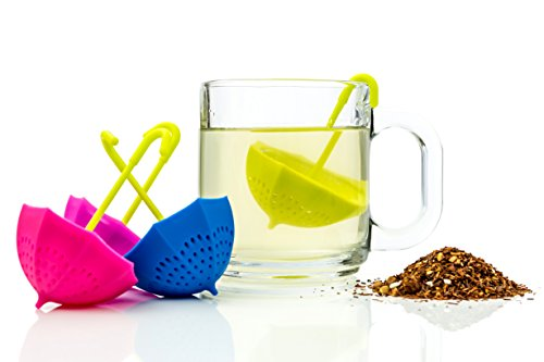 Umbrella Tea Infuser Set – Includes 4 Cute Fun Colorful Strainer Pieces – Works Like a Tea Ball to Brew Loose Leaf & Herbal Teas Right in the Cup – Great Gift for Tea Lovers