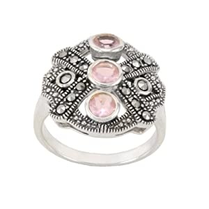 Sterling Silver Marcasite 3-Stone Pink Color Glass Ring, Size 6