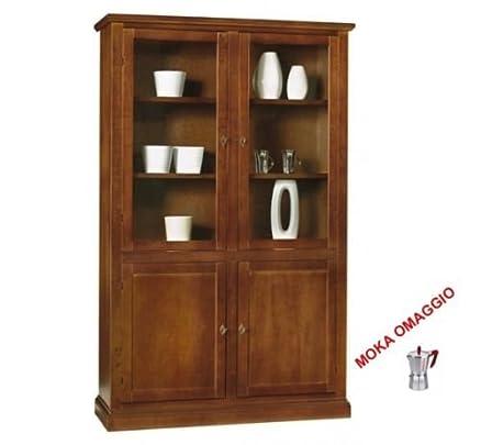 CLASSICO libreria legno con 2 ante vetro 2 ante legno per soggiorno salotto 390 120x41x187