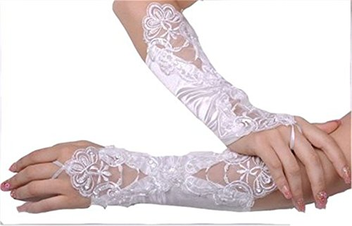 Bettertime White Lace Fingerless Glove for Bridal Wedding Dresses Evening Gloves