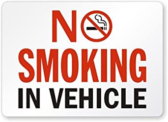 """No Smoking In Vehicle (red text) Laminated Vinyl Sign, 5"""" x 3.5"""""""