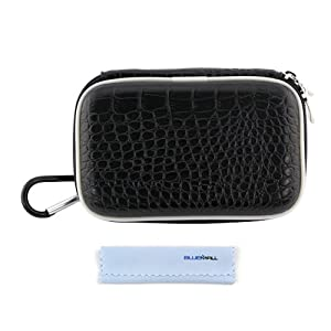 GTMax Black Crocodile Print Carrying Storage Eva Case + Cleaning Cloth for Pentax Optio WG-10, WG-3, WG-2; Panasonic Lumix DMC-TS5, DMC-ZS30; Canon SX280 HS, SX260 HS, SX240 HS, SX230 HS and More Digital Cameras