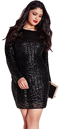 YeeATZ Black Plus Size Sequin Mesh Mini Dress(Size,2