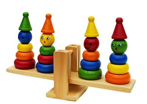 Toys of Wood Oxford Wooden Clown Ring Stacker And Balance Set - 1