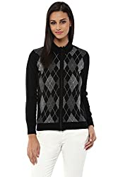 Annabelle by Pantaloons Women's Polo Neck Sweater (205000005619478, Black, Large)