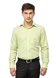 Copperline Green Striped Slimfit Fullsleeves Cotton Formal Shirts