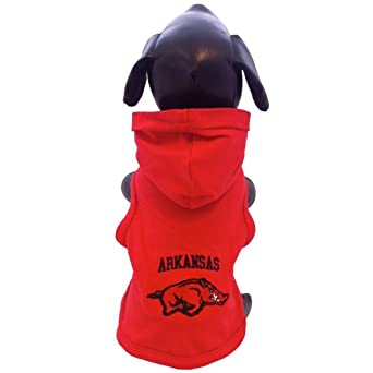 NCAA Arkansas Razorbacks Collegiate Cotton Lycra Hooded Dog Shirt (Team Color, Small)