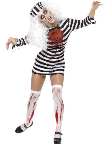 Smiffy's Women's Zombie Convict Dress with Latex Piece and Hat