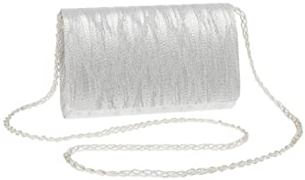 La Regale Crushed Metallic Satin Clutch with Shoulder Strap,Silver,