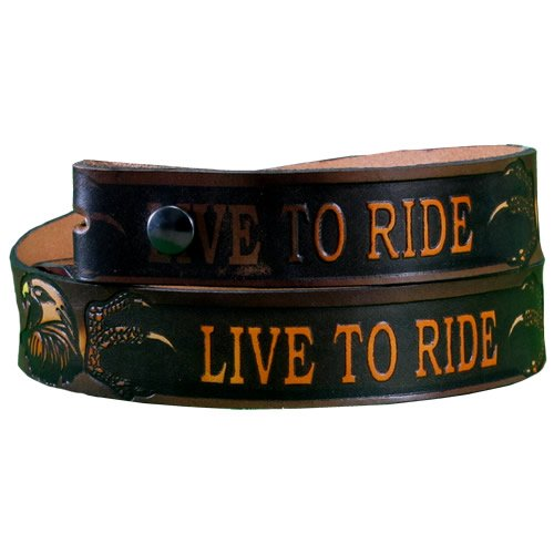 Live to Ride Colored Full Grain Leather Belt With Buckle - Embossed Leather Belt ((Size 38) 36