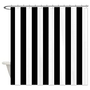 Black and white stripe shower curtain for Black and white striped bathroom accessories