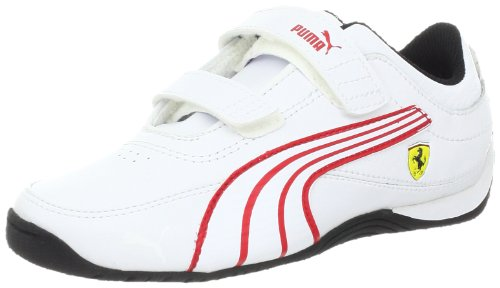 PUMA Drift Cat 4 Ferrari Leather V Kids Sneaker (Infant/Toddler/Little Kid/Big Kid),White/White/Rosso Corsa,10 M US Toddler