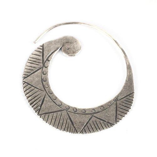 Tribal karen hill tribe silver spiral handmade earring single by 81stgeneration