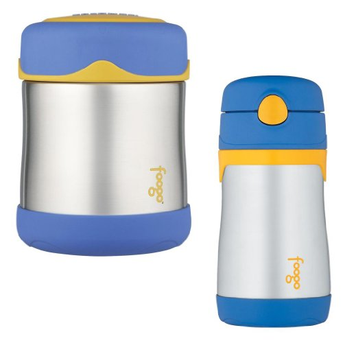 Thermos Foogo Leak-Proof Stainless Steel 10 Ounce Food Jar And Straw Bottle Set - Blue front-946785