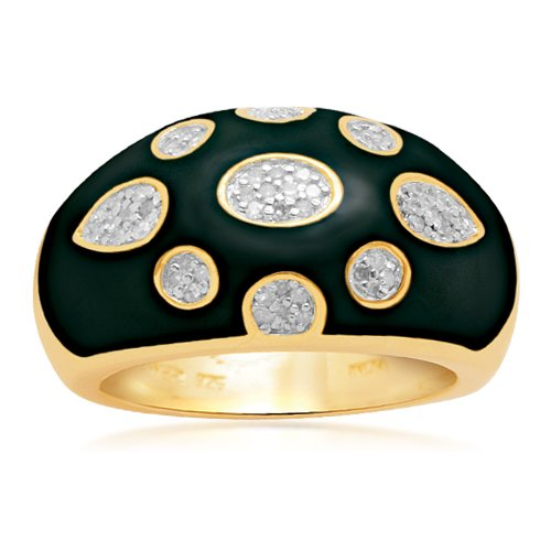 18k Gold Plated Sterling Silver Enamel Diamond Ring (1/6 cttw, I-J Color, I2-I3 Clarity), Size 7