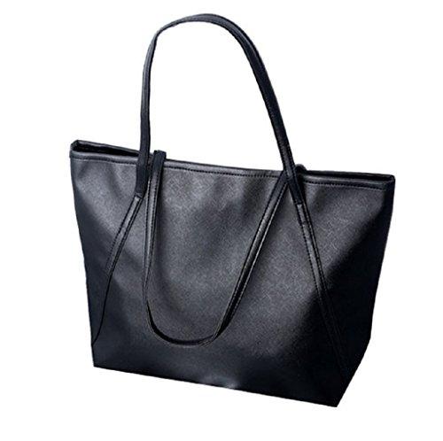 Borsa Familizo Elegant Nuovo Semplice invernali in pelle capienza Donne Messenger Bag (Nero)