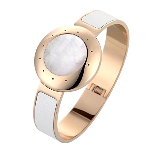 Generic Wearable Devices Bluetooth Smart Bracelet Activity Tracker Sleep Monitor Ios And Android Compatible White Leather Embedded Gold