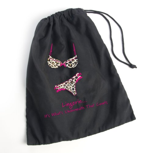 "Miamica Black Animal Print ""Lingerie...It'S Whats Underneath That Counts!"" Lingerie Bag Bra Underwear Travel"