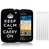 BLACKBERRY CURVE 9380 BLACK/WHITE KEEP CALM & CARRY ON LASERED SILICONE SKIN CASE / COVER / SHELL + 6-IN-1 SCREEN PROTECTOR PACK PART OF THE QUBITS ACCESSORIES RANGEby Qubits
