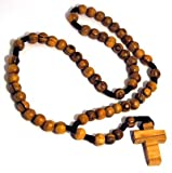 Olive Wood Rosary Beads and Cross Pendant Necklace