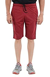 LLUMINATI Men's Cotton Shorts (Bermuda Maroon, Maroon, XL)