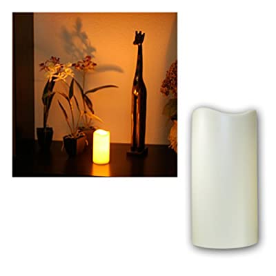 Star LED lighting plastic candle, flickering ca. 15 cm x 7,5 cm, Timer, battery operated, amber LED, outdoor window box with ,,, by Best Season