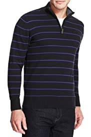 Pure Cotton Half Zip Striped Jumper [T30-5216B-S]
