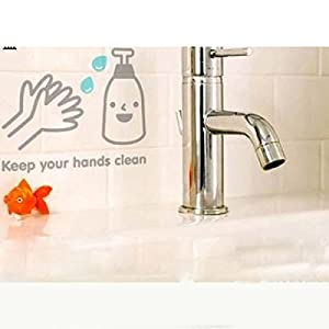 "Great Value Wall Decor All-matching Removable Wallpaper Bathroom Stickers with ""Keep Your Hands Clean"" Sign Small Size Light Gray and Light Blue from Mzamzi"