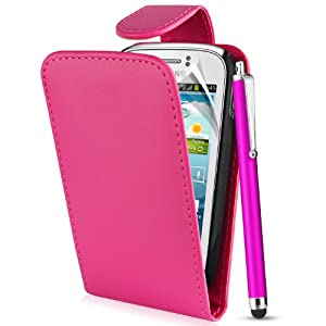 Supergets® Samsung Galaxy Young S6310 / Duos S6312 Hot Pink Top Flip Pocket Wallet Case, Screen Protector , Touch Screen Stylus And Polishing Cloth