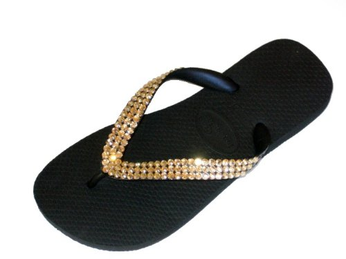 Cheap Black GOLD Swarovski Crystal Havaianas Flip Flops Sandals Thongs sizes 5-11 (B002GJ434M)