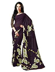 Purple Color Georgette Printed Saree With Blouse 7004
