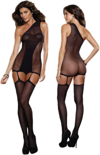 Sexy Sheer Black Crotchless Fishnet Bodystocking