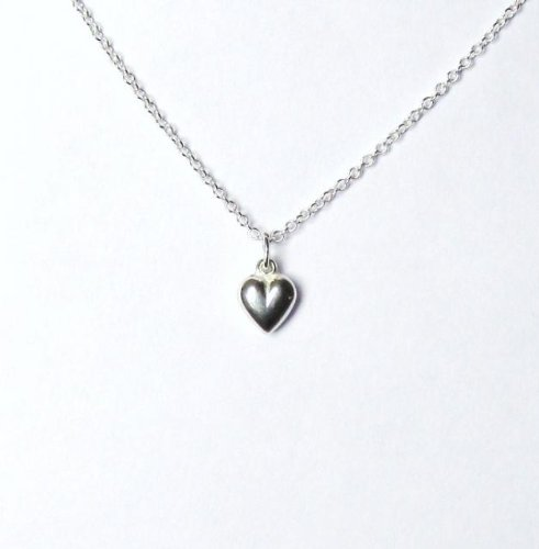 Midor925 925 Sterling Silver Puffed Heart Pendant Necklace