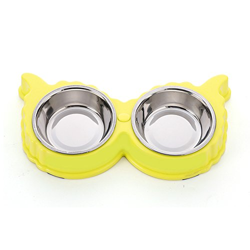 Geekercity Durable Stainless Steel Dog And Cat Double Diner Food Water Bowl - Animal Food Bowls Anti-skid Kitten Cat Food Dish Pet Bowls Feeder Animal Supplies (Yellow)