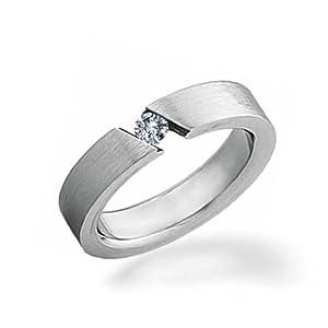 Bling Jewelry Bague de mariage Acier inoxydable .1 CT CZ Tension Ensemble unisexe
