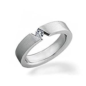 Bling Jewelry Unisex Stainless Steel Ring with Tension Set 0.25 ct CZ Size 7