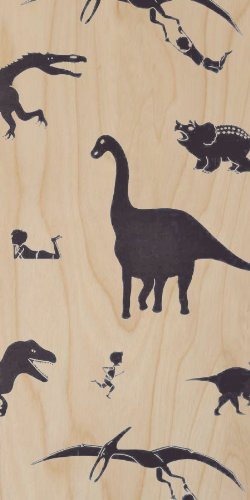 Dinosaurs & Little Boy - Brontosaurus, Tyrannosaurus Rex, Triceratops - Plywood Wood Print Poster Wall Art back-844292