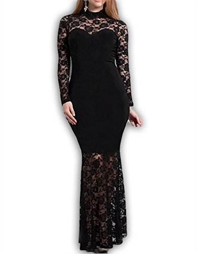 832 D10 - Mermaid Lace Maxi Long Cocktail Dress Gown Black (2X)