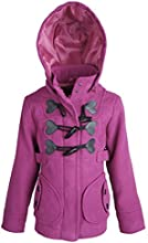 Dollhouse Little Girls Wool Look Jacket with Zippered Removable Hood and Toggles