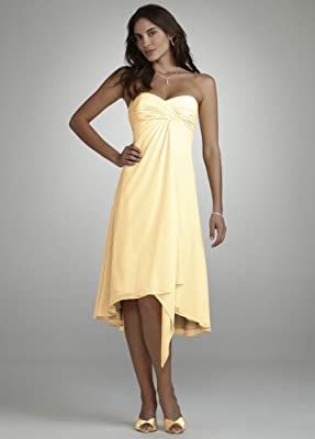 David's Bridal Women's Strapless Chiffon Short Dress