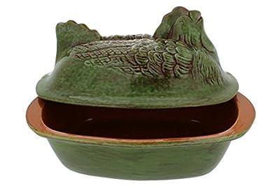 """French Home Italian Stoneware Charming Chicken Roaster 3.25Qt 14""""L x 9""""W x 9""""H - Cilantro"""